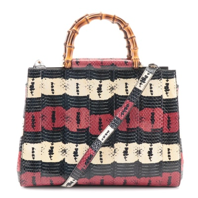 Gucci Nymphaea Bamboo Multicolor Dyed Python Two-Way Bag