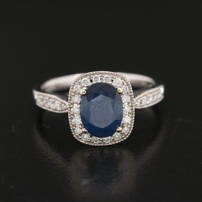 EFFY 14K Sapphire and Diamond Milgrain Halo Ring