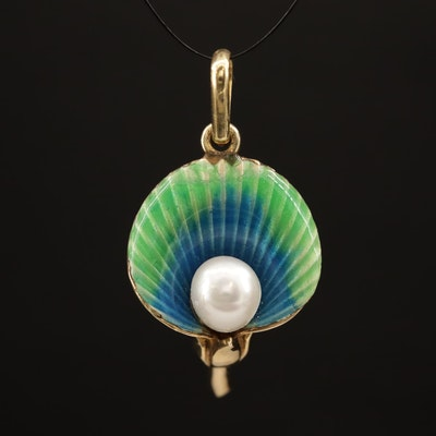 14K Pearl and Enamel Calla Lilly Pendant