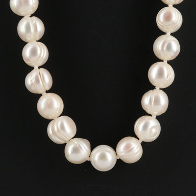 Single Strand Hand Knotted Baroque Pearl Necklace with Sterling Silver Clasp