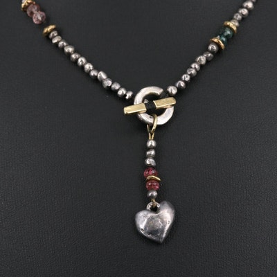 Sterling Silver Tourmaline Beaded Necklace with 18K Accents