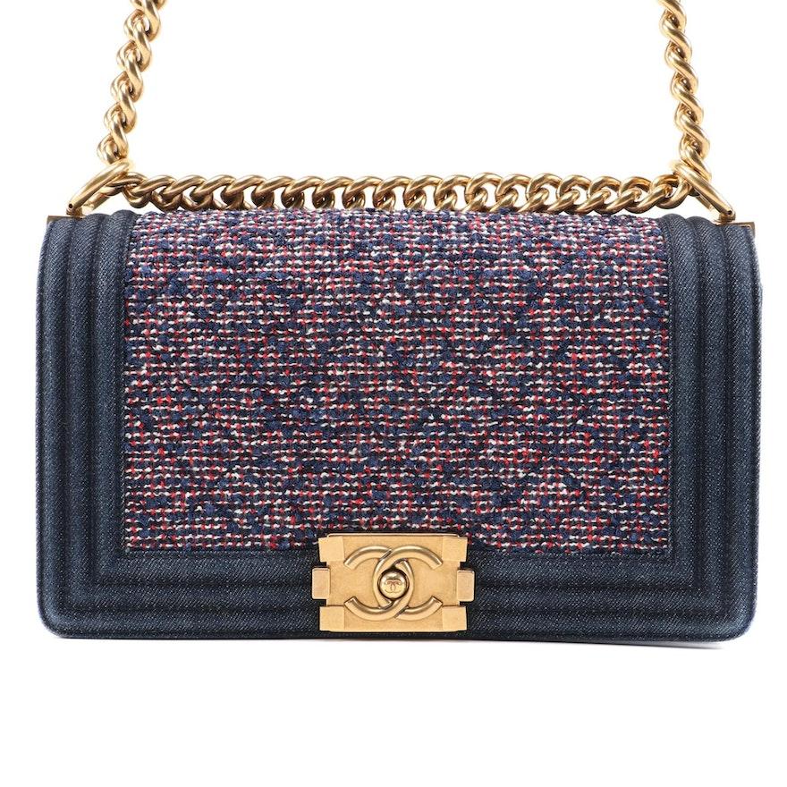 Chanel Medium Boy Bag in Tweed and Blue Denim