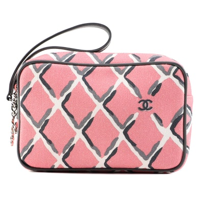 Chanel Coco Charm Wristlet Pouch in Multicolor Canvas with Black Leather Trim