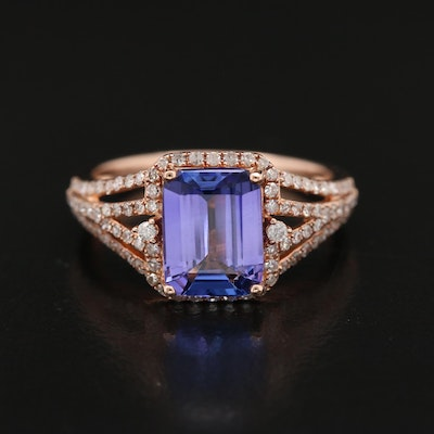 EFFY 14K Rose Gold 2.09 CT Tanzanite and Diamond Ring