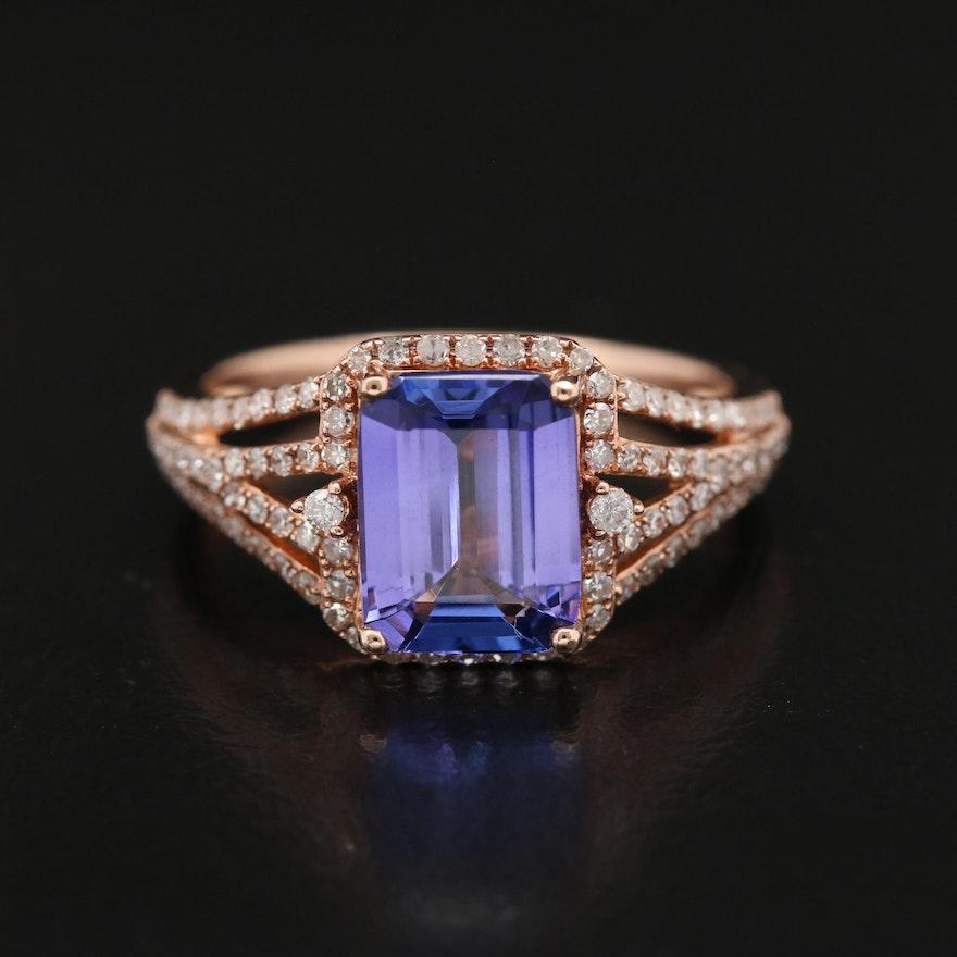 EFFY 14K Rose Gold 2.09 CT Tanzanite and Diamond Ring