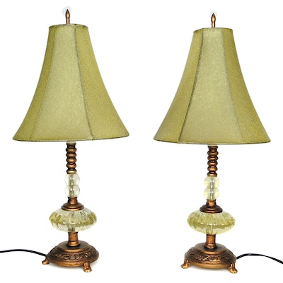 Pair of Glass and Wood Table Lamps, Late 20th Century