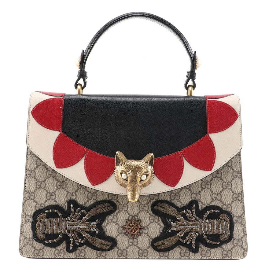 Gucci Fox Broche Embroidered Two-Way Bag in GG Coated Canvas and Leather