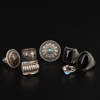 Sterling Silver Rings Featuring Tom Charley Navajo Diné
