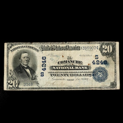 Large Format Series of 1902 $20 Blue Seal National Currency Note, Comanche, TX