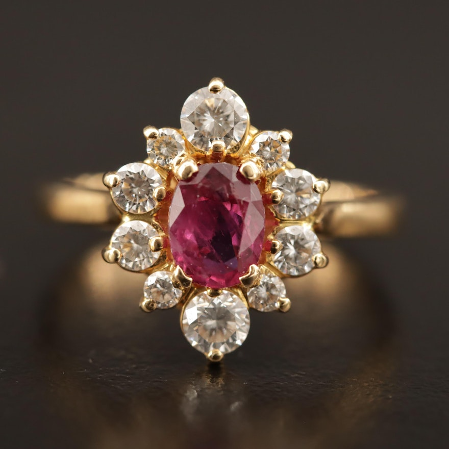 18K 1.12 CT Burmese Ruby and Diamond Ring with GIA Report