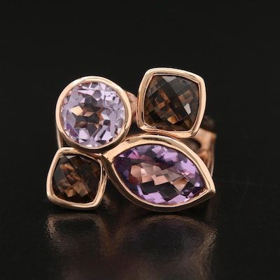 14K Rose Gold Amethyst and Smoky Quartz Cluster Ring