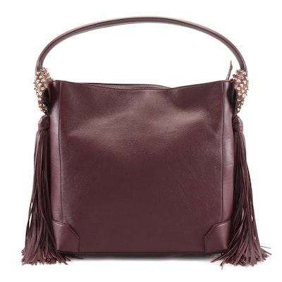 Christian Louboutin Eloise Fringe Hobo Bag in Bordeaux Grained Leather
