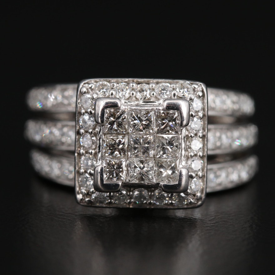 14K Invisible Set 1.50 CTW Diamond Split Shank Ring with Halo
