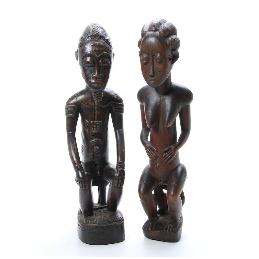Baule Style Carved Wood Male and Female Figures