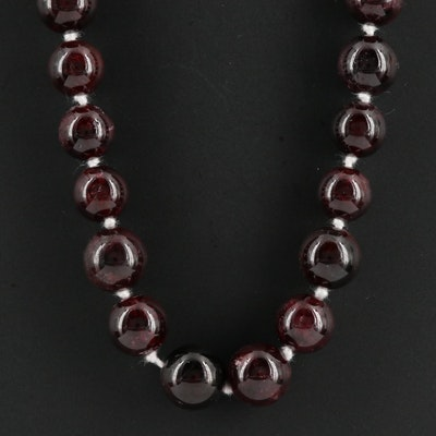 Sterling 10.00 MM Garnet Beaded Necklace