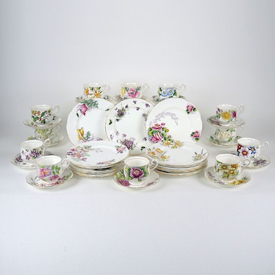 "Royal Albert ""Snow Drop"" Plates, ""Cosmos"" Teacups, and Other Porcelain"