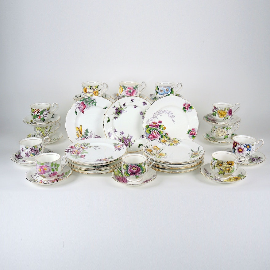 """Royal Albert """"Snow Drop"""" Plates, """"Cosmos"""" Teacups, and Other Porcelain"""