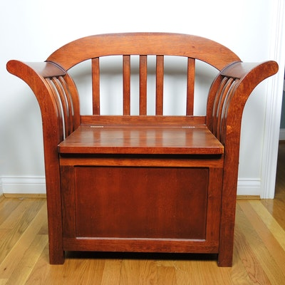 Single Seat Wood Storage Bench, Mid to Late 20th Century