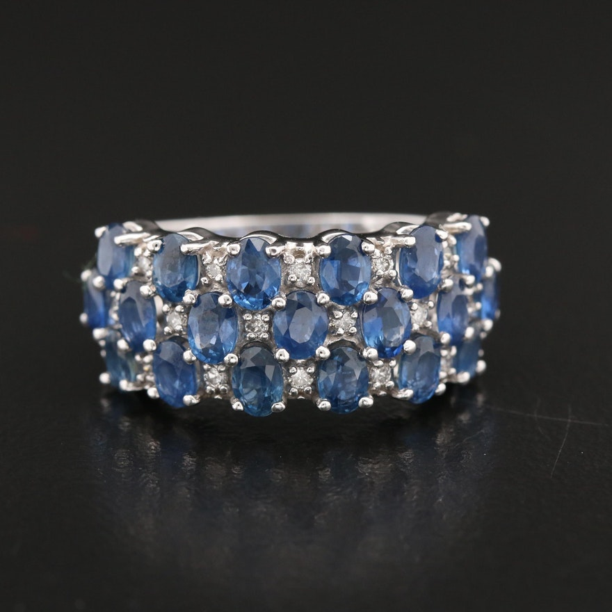 BH 14K Tapered Sapphire and Diamond Ring