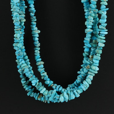 Turquoise Multi-Strand Necklace with Sterling Clasp and Chain