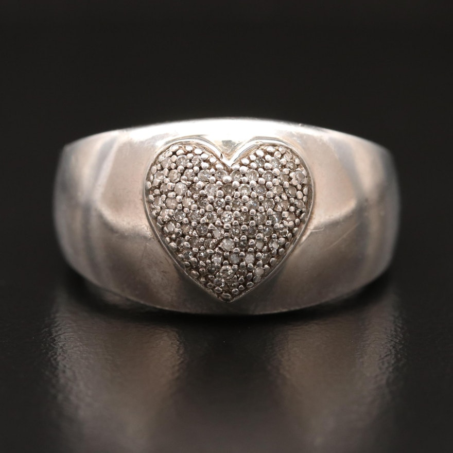 Sterling Silver Pavé Diamond Heart Ring