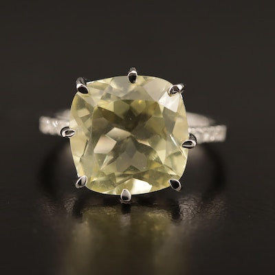 Sterling Silver Citrine Ring with Diamond Accents