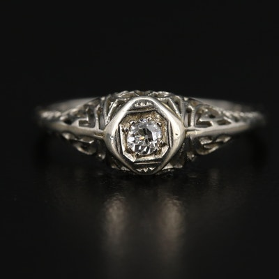 Art Deco 14K Diamond Filigree Ring