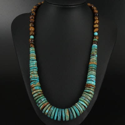 Turquoise and Tiger's Eye Graduated Necklace with Sterling Clasp