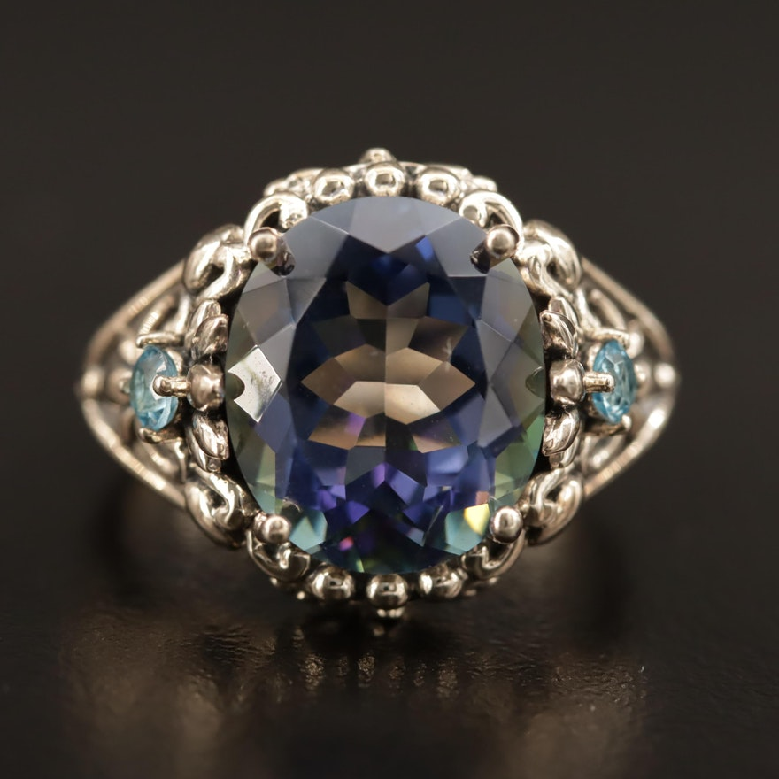Sterling Silver Topaz and Quartz Ring with Foliate Pattern