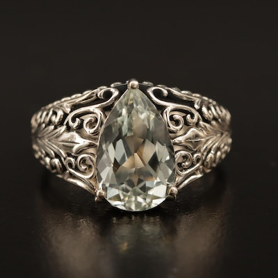 Sterling Silver Prasiolite Ring with Foliate Pattern