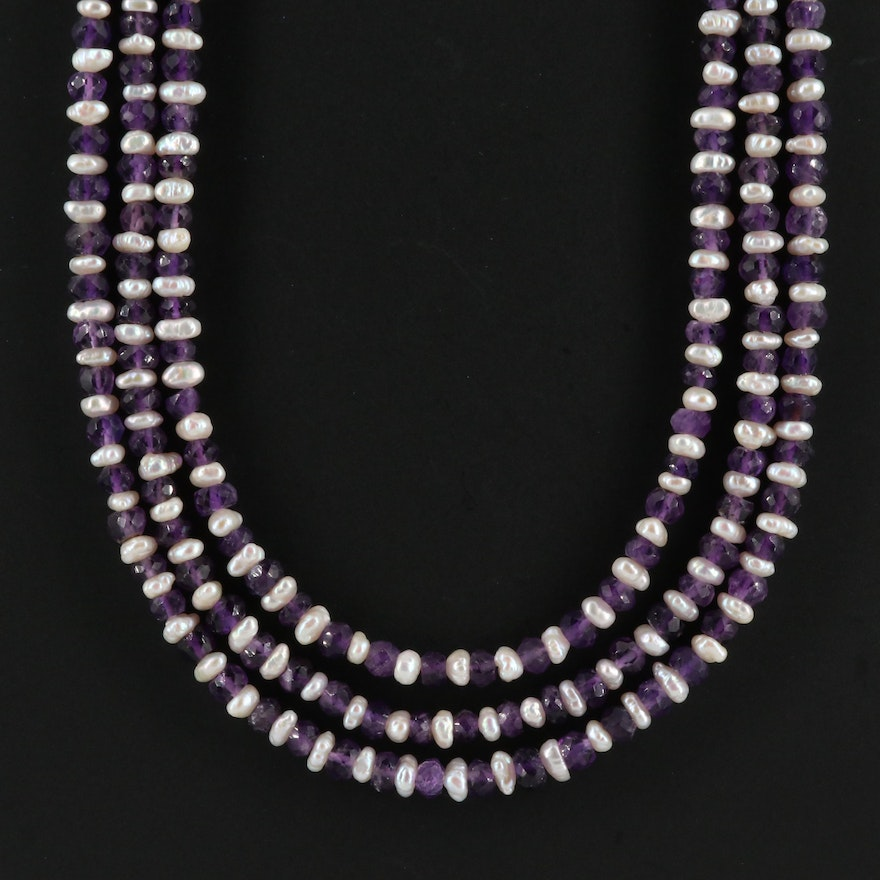 Pearl and Amethyst Multi-Strand Necklace with Sterling Clasp and Accent Beads