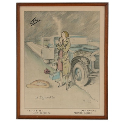 "Lithograph after Georges Hautot ""La Cigarette"""