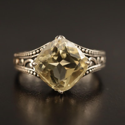 Sterling Silver Citrine Ring with Scroll Pattern