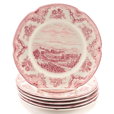 "Johnson Bros ""Old Britain Castles"" Pink Earthenware Salad Plates"