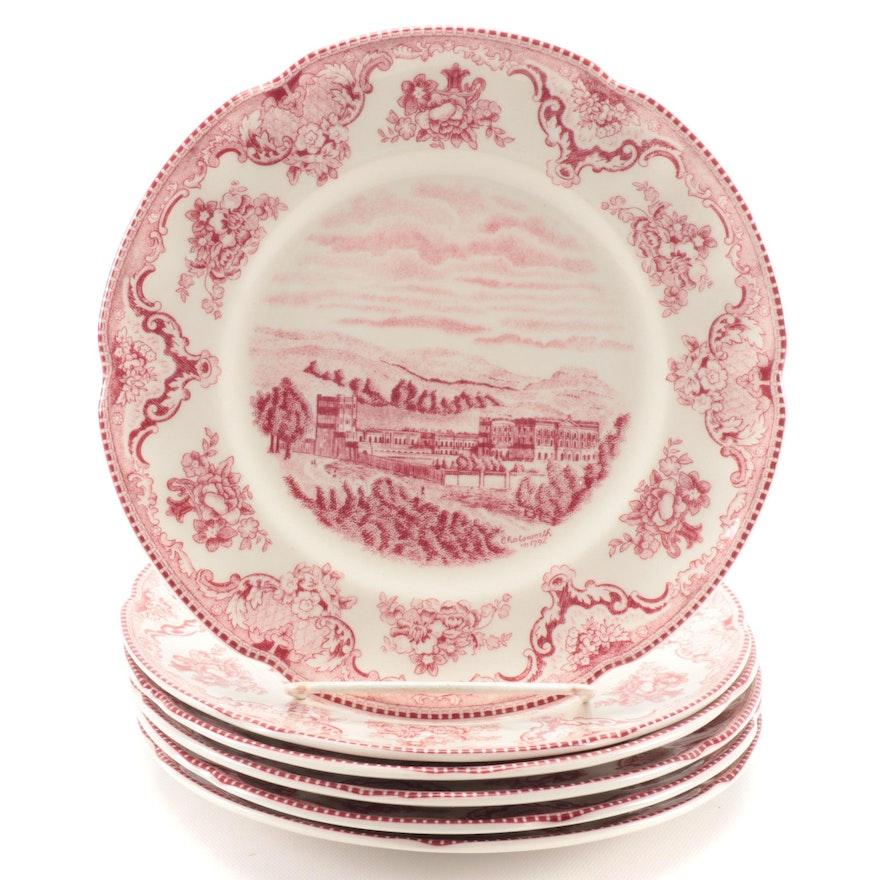 "Johnson Bros ""Old Britain Castles"" Pink Earthenware Salad Plates"