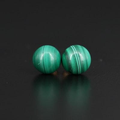 14K Malachite Stud Earrings