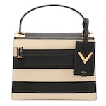 Valentino My Rockstud Small Black and Off-White Striped Leather Satchel