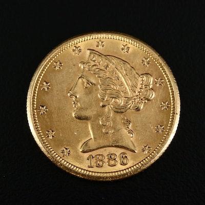 1886-S Liberty Head $5 Gold Half Eagle Coin