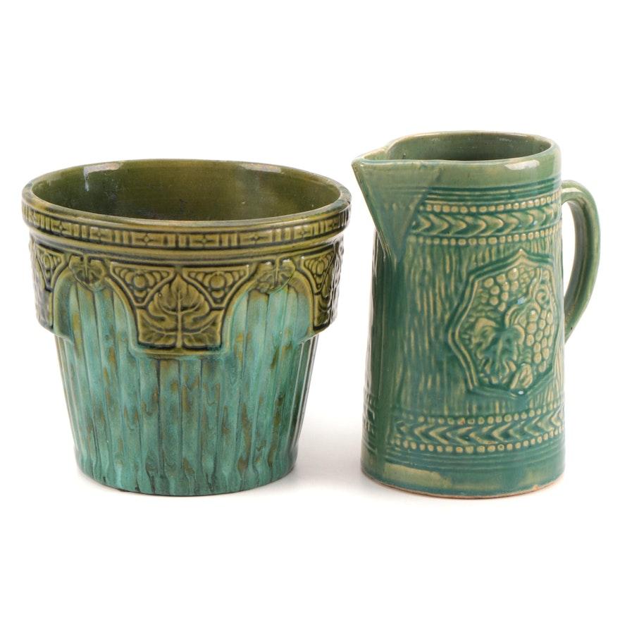 McCoy Pottery Green Glazed Ceramic Planter and Pitcher