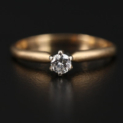14K Two-Tone 0.15 CT Diamond Solitaire Ring