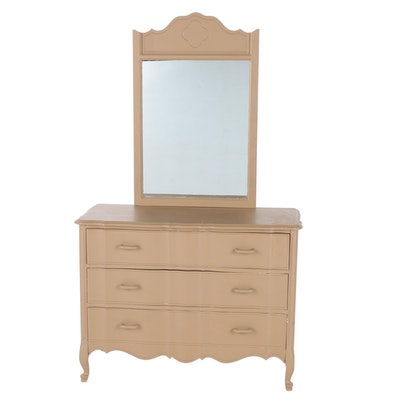 French Provincial Style Painted Wood Chest of Drawers with Mirror