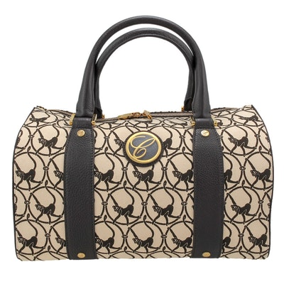Chopard Milano Beige Cloth and Brown Leather Handbag
