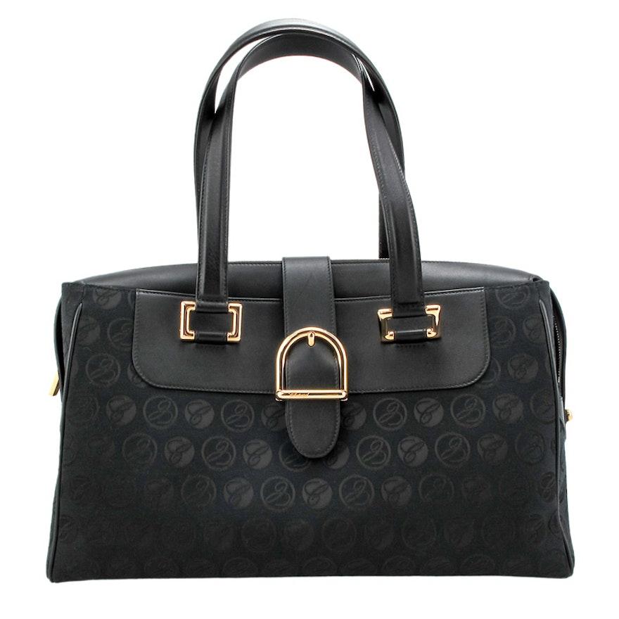 Chopard Medium Monogram Jacquard and Black Grained Leather Handbag