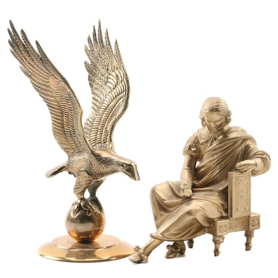 Brass American Eagle with Cast Iron Robed Man Figural, Late 20th Century