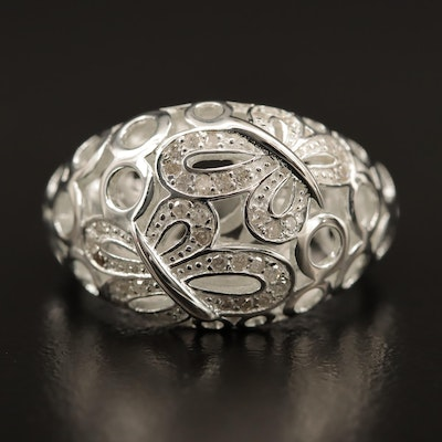 Fine Silver and Diamond Butterfly Motif Ring