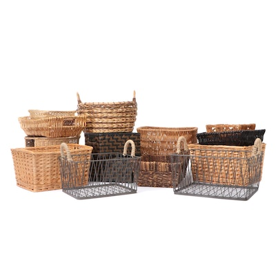Woven and Rod Iron Baskets