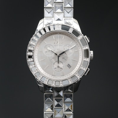 Christian Dior Christal Chronograph Diamond and Stainless Steel Wristwatch
