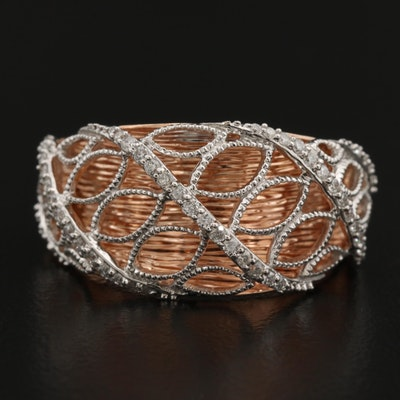 14K Rose Gold Ring with Raised Diamond Openwork