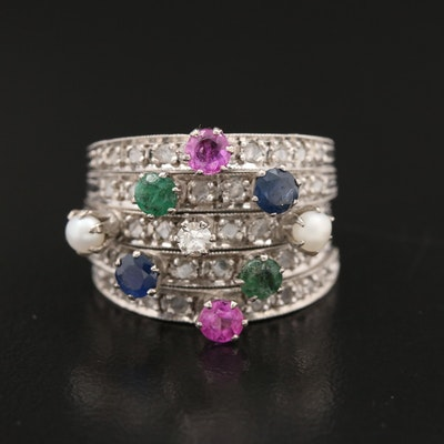 14K Diamond and Gemstone Ring