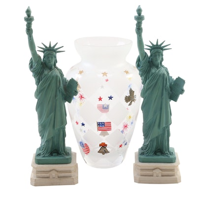 "Lenox ""Patriotic Collection"" Glass Vase and Composite Statue of Liberty Figurals"